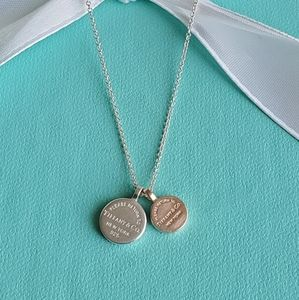 Rubedo&silver round tags necklace